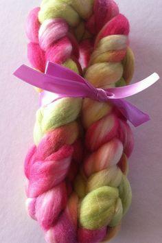 Spring Garden Merino spinning fiber by Ulljente on Etsy Spring Garden, Spinning, Pink And Green, Fiber, Hand Painted, Wool, Etsy, Hand Spinning, Indoor Cycling