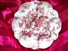 Antique Pink Plates | Antique Oyster Plate ~ Pink 'n White ~ 'Marguerite' from ...