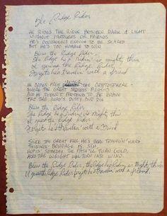 The Lyrics to Ridge Rider, penned by Judee Sill.