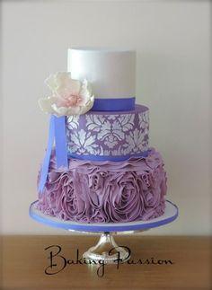 Lilac Damask and Ruffles Cake