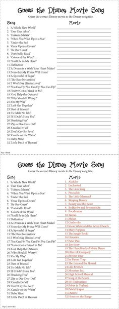 """Guess the Disney Movie Song Party Game. I made this for a baby shower based off a internet qui but it could be used for anything!. Not as easy as it looks. Spans a range in age and I can honestly say no one got them all right. Though I do suggest you say """"No smart phones/ipads to look up the answers!"""""""