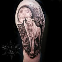 Howling wolf in the moonlight tattoo by Heidi @ Soular Tattoo