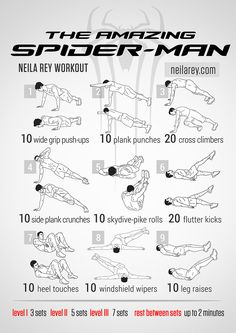 Amazing Spider-Man Workout. Bunch of nerdy workouts on this website. Really…