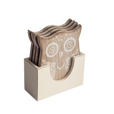 Set Of Four White Wooden Owl Coasters. A great gift idea for Christmas. www.athomeshopping.co.uk £9.99