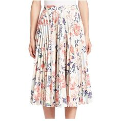 MSGM Pleated Floral-Print Skirt ($995) ❤ liked on Polyvore featuring skirts, light floral, midi, msgm, knee length pleated skirt, pleated midi skirts, floral print midi skirt and pink floral skirt