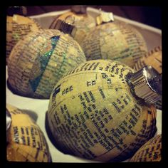 Christmas Tree Ornament Covered with Vintage book pages. $4.00, via Etsy.