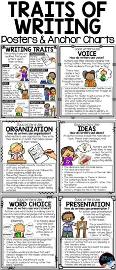Traits of Writing Posters and Traits of Writing Anchor Charts! Perfect for teaching students how to write and the traits of good writers.  Perfect for writer's workshop, writing centers, or a writing bulletin board display.  Can also be used in interactive writer's notebooks. Six Traits Posters | Six Traits Anchor Charts | Write Traits Posters | Write Traits Anchor Charts
