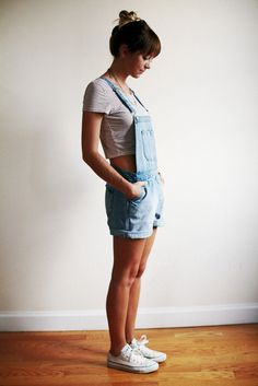 dungarees, crop top, and converse
