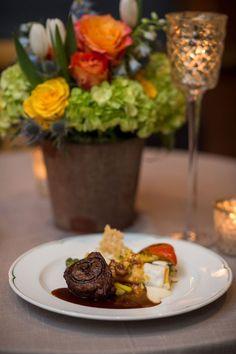 ann whittington events elegant rehearsal dinner southern style country club filet mignon steak with custom branding vegetables rehearsal dinner meal