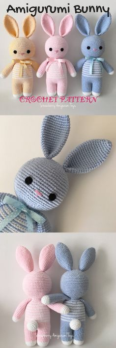 What a sweet bunny pattern! I love amigurumi crochet patterns like this one! So simple and adorable! It would make a great new baby gift! #etsy #ad #pdf #pattern #download