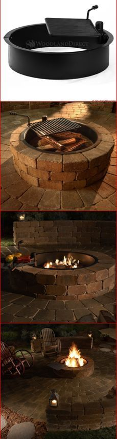 Beautiful and Easy DIY Outdoor Fire Pit. Use the Rockwood Steel Insert and - Fire Pit - Ideas of Fire Pit - Beautiful and Easy DIY Outdoor Fire Pit. Use the Rockwood Steel Insert and Diy Fire Pit, Fire Pit Backyard, Backyard Patio, Backyard Landscaping, Landscaping Design, Backyard Fireplace, Fireplace Ideas, Outdoor Fire Pits, Fire Pit With Grill