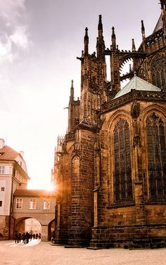 Saint Vitus' Cathedral, Prague, Czech Republic. Has flying buttresses just like Notre Dame in Paris.