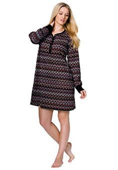 a701c23ece Dreams Co Womens Plus Size Thermal Knit Henley Sleepshirt Multi Heart3X Sleep  Shirt