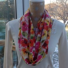 Scarf with pretty colors. Infinity style. Handcrafted rayon scarf with pinks, greens, yellows and orange. Length:72x14 Robinadi Accessories Scarves & Wraps