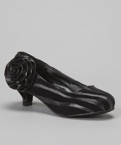 Take a look at this Black Zebra Kitten Heel by Diamond Footwear on #zulily today!