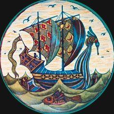 Galleon charger by William de Morgan