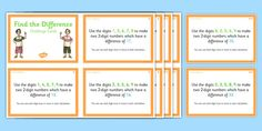 Use this set of 32 challenge cards to reinforce your teaching on finding the difference and test your students' knowledge. Addition And Subtraction, Different, Knowledge, Challenges, Student, Teaching, Activities, Cards, How To Make