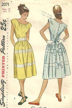 Vintage años 40 costura patrón simplicidad 2071 por studioGpatterns