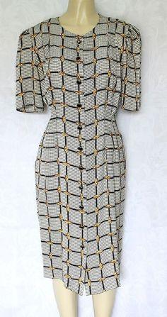 EUC Vintage Adrianna Papell Silk Dress Button Down Short Sleeve 16 #AdriannaPapell