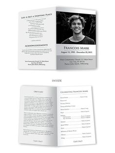 Funeral Program Template Obituary Template Memorial Program