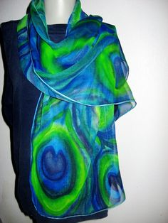 PEACOCK Hand Painted SILK Scarf Custom Order by SilkMagic on Etsy, $38.00