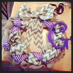 Burlap and chevron ribbon wreath