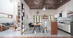 minimal-home-malappuram-hall Exterior Design, Interior And Exterior, Staircase Landing, Exposed Concrete, Minimal Home, Large Windows, Minimal Design, Ground Floor, All Modern