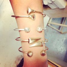 Sneak peak at the many bangles that will debut as part of the Crusoe Jewelry Spring 2015 Collection. Get ready to layer those jewels up!