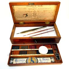 Reeves & Sons  Watercolor paint box  dating 1870's-1890's  Boxes like this Reeves & Sons Watercolor set were awarded to students for achievement.  Awards were provided for by the British Education Reform acts of 1870 - acts which still serve as a model  of promoting education & achievement.