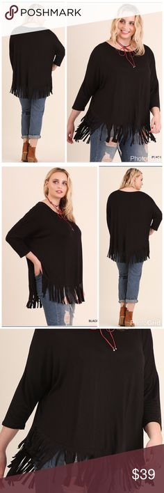 """PLUSFun & Free Top 3/4th Sleeve Top with Fringe Details.  XL Length 29"""", BUST 56"""" 1X L 29"""", B 58""""; 2X 60"""". Dolman sleeve top. Tops"""