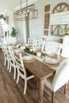 Farmhouse Fall – North Carolina Yoga Girl Well I'm about as late as can possibly be to the fall decorating game. Especially considering I decorate for Christmas towards the beginning of November (insert facepalm) BUT I did it. Farmhouse Dining Room Table, Dining Room Table Decor, Dining Room Walls, Decoration Table, Dining Room Design, Dining Room Furniture, Dinning Room Ideas, Living Room, Farmhouse Decor