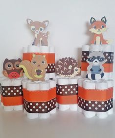 Woodland Animals Diaper Cake, Forest Animals Centerpieces, Fall and Winter Baby Shower Decor, Fox Diaper Cake, Shower Table Centerpieces