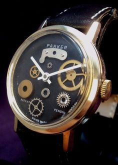 """INSPECTED AND TIMED. KEEPS EXCELLENT TIME! ORIGINAL, 1960S FACTORY FINISHED 30MM BLACK DIAL IN EXCELLENT CONDITION. """"PARKER ' AND """"PATENT PENDOING """" ALONG WITH """"SWISS MADE """" PRINTED ON DIAL.   eBay!"""