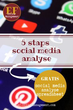 Gebruik deze 5 stappen om je social media analyse regelmatig te doen.  En vraag ook de gratis spreadsheet aan!  #socialmedia #socialmediaanalyse #va #obm #efofficemanagement Om, Management, Marketing, Mathematical Analysis