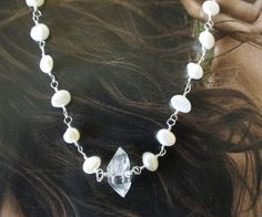 Herkimer Diamond, Freshwater Pearl Sterling Silver Necklace