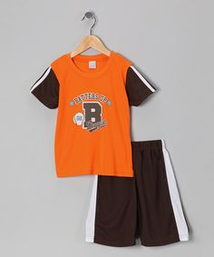 Take a look at this Orange 'Batters Up' Tee & Shorts - Boys by S.W.A.K. on #zulily today!