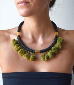 short rope pompom necklacestatement ethnic by PROPSfashion on Etsy, €30.00