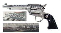 Factory Colt SAA Engraved Nickel Finish 45 Colt    Super Sweet!