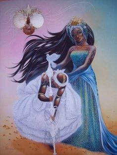 Yeye Yemoja Helping Her Husband Baba Obatala Yemaya Orisha, Oshun Goddess, Yoruba Orishas, African Mythology, Yoruba Religion, Black Love Art, Afro Art, African American History, Gods And Goddesses