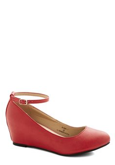 Take a Stride With Me Wedge in Red | Mod Retro Vintage Heels | ModCloth.com