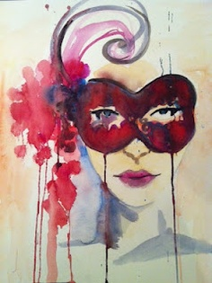 """Masquerade"". 18"" x 24"". Watercolor"