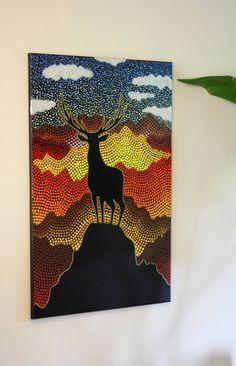 Deer Mountain Original Dot Art Painting 24 x 36 inch canvas