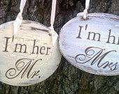 RUSTIC Wedding Signs Mr & Mrs wedding chair signs BEACH Weddings, BROWN Weddings, Nautical Weddings, Country Weddings