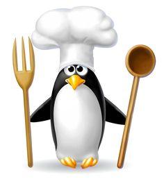 Pinguin Koch mit Besteck ...