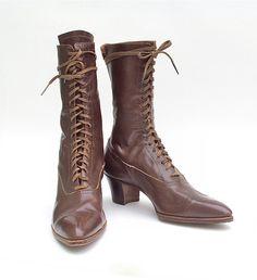 Antique Ladies Boots Lace Up Brown Leather J&K Shoe Vintage/$110