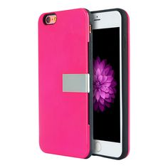 APPLE IPHONE 6/6S PLUS MODERNE SERIES LUXURY CARD HOLDER HYBRID CASE WITH SILVER STAND - HOT PINK