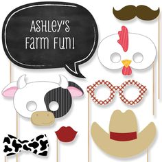 20 Farm Animals Photo Booth Props - Farm Photobooth Kit with Custom Talk Bubbles for Baby Shower or Birthday Party by BigDotOfHappiness on Etsy https://www.etsy.com/listing/214960615/20-farm-animals-photo-booth-props-farm