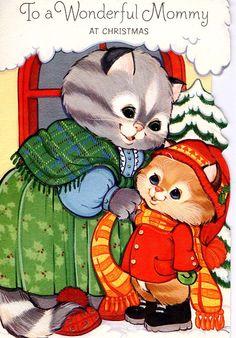 #midcentury #Christmas #greetingcard #Hallmark #kitten