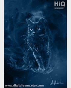 Shamanic Guardians Nebelung Cat by DigitDreams on Etsy Hogwarts, Slytherin, Nebelung Cat, Harry Potter, Fantasy, Fantastic Beasts, Cat Breeds, Cat Memes, Cat Art