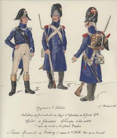 Grenadiers of the Royal Guard in Germany at the beginning of Officer and two grenadiers in campaign dress. Kingdom Of Naples, Kingdom Of Italy, Italian Army, National History, Royal Guard, French Empire, French Revolution, Napoleonic Wars, French Artists